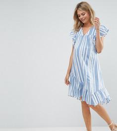 Платье в полоску с рукавами клеш и V-образным вырезом ASOS Maternity - Мульти