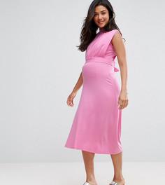 Платье миди с воротником-стойкой ASOS Maternity NURSING - Розовый