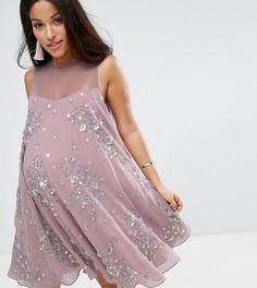 Платье-трапеция мини с отделкой ASOS Maternity - Розовый