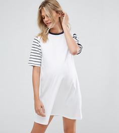 Трикотажное платье в полоску ASOS Maternity - Белый