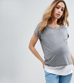 Двухслойная футболка для кормящих мам ASOS Maternity PETITE NURSING - Серый