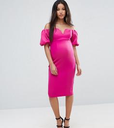 Платье миди с пышными рукавами ASOS Maternity PREMIUM - Розовый