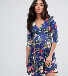 Приталенное платье с цветочным принтом для кормящих мам ASOS Maternity TALL - Темно-синий
