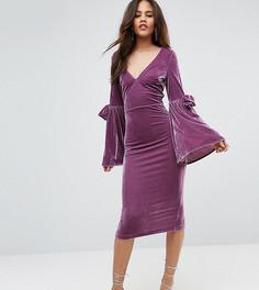 Платье миди с расклешенными рукавами ASOS TALL - Розовый