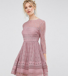 Кружевное короткое приталенное премиум-платье ASOS TALL - Мульти