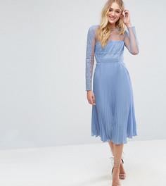 Платье миди с кружевом на лифе и плиссированной юбкой ASOS TALL - Фиолетовый