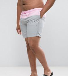 Розовые с серым шорты для плавания средней длины ASOS PLUS - Мульти