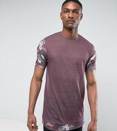 Супердлинная футболка из ткани под лен с цветочным принтом на рукавах и по низу ASOS TALL - Фиолетовый