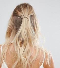 Золотистая металлическая заколка для волос с бантом Orelia - Золотой