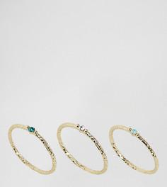Набор позолоченных колец с камнями Orelia - Золотой