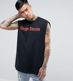 Черная свободная футболка без рукавов с принтом Marylin Manson Reclaimed Vintage Inspired - Черный