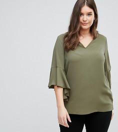 Блузка со свободным воротом Lovedrobe - Зеленый
