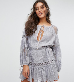 Кружевное платье мини Stevie May Nina - Серый