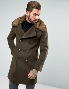 Пальто в стиле милитари с отделкой искусственной шерстью Gianni Feraud - Зеленый