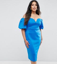 Платье миди с открытыми плечами и пышными рукавами ASOS CURVE - Синий
