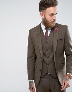 Коричневый облегающий пиджак Gianni Feraud - Коричневый