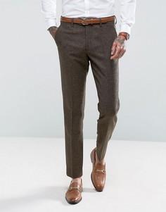 Коричневые узкие брюки с узором в елочку Gianni Feraud - Коричневый