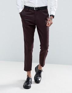 Бордовые узкие брюки укороченного кроя с геометрическим принтом Gianni Feraud - Красный