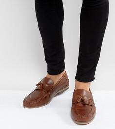 Светло-коричневые кожаные лоферы для широкой стопы с кисточками и бахромой ASOS - Рыжий