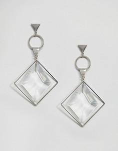 Незамкнутые геометрические серьги с ограненным кристаллом ASOS - Серебряный