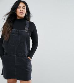 Выбеленный черный джинсовый сарафан ASOS CURVE - Черный