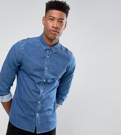 Эластичная джинсовая рубашка зауженного кроя ASOS TALL - Синий