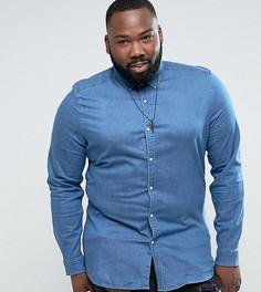 Эластичная облегающая джинсовая рубашка ASOS PLUS - Синий