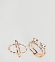 2 узких кольца со стразами ASOS CURVE - Медный