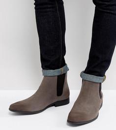 Серые ботинки челси для широкой стопы из искусственной замши ASOS - Серый