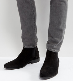 Черные ботинки челси для широкой стопы из искусственной замши ASOS - Черный