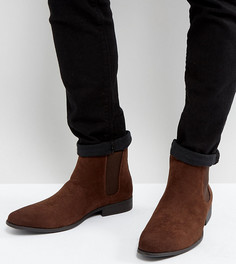 Коричневые ботинки челси для широкой стопы из искусственной замши ASOS - Коричневый