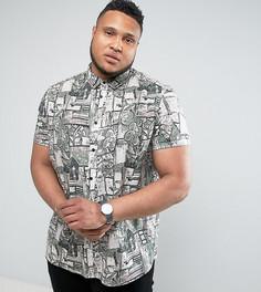 Рубашка классического кроя с винтажным принтом ASOS PLUS - Белый