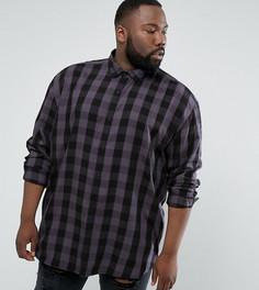 Оверсайз-рубашка из вискозы в клетку ASOS PLUS - Серый