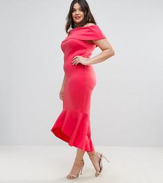 Платье с оборкой на подоле Club L Plus - Розовый