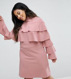 Платье с оборками Club L Plus - Розовый