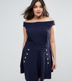 Приталенное платье из крепа с открытыми плечами Club L Plus - Темно-синий