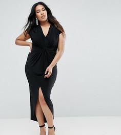 Платье макси с короткими рукавами и узелком Club L Plus - Черный