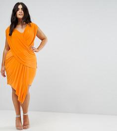 Драпированное платье с асимметричным подолом Club L Plus - Оранжевый
