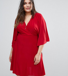 Платье миди с расклешенными рукавами Club L Plus - Красный