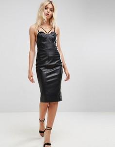 Платье-бандо миди из искусственной кожи ASOS - Черный