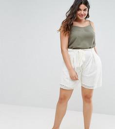 Белые широкие кружевные шорты Elvi - Белый