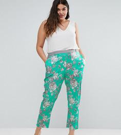 Бирюзовые брюки с цветочным принтом Elvi - Зеленый