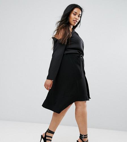 Двухцветная асимметричная юбка Elvi - Черный