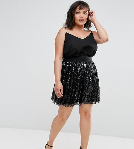 Плиссированная юбка с кружевом и пайетками Elvi - Черный