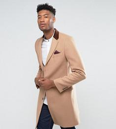 Классическое однобортное премиум-пальто с добавлением шерсти и бархатной отделкой Gianni Feraud TALL - Светло-серый