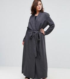 Темно-серое пальто с поясом Elvi - Черный