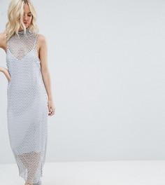 Платье макси 2-в-1 в крупную сетку ASOS PETITE - Мульти