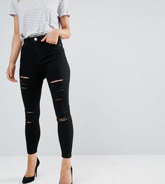 Черные облегающие джинсы с завышенной талией и рваной отделкой ASOS PETITE Ridley - Черный