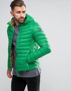 Короткая дутая куртка с капюшоном Puffa - Зеленый