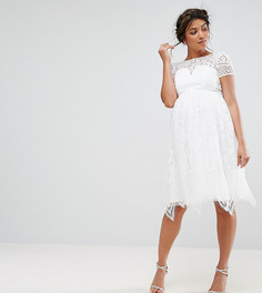 Кружевное платье миди Chi Chi London Maternity - Белый
